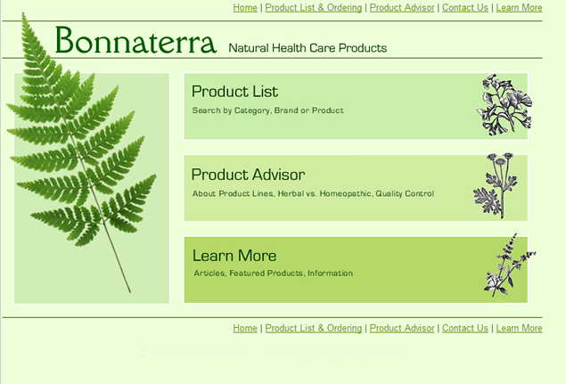 screenshot of health care products site designed by Lauren Brush