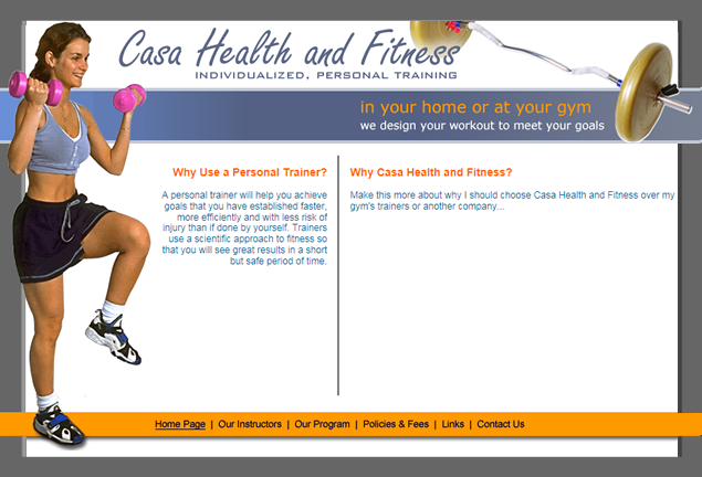 screenshot of personal trainer's web site by Lauren Brush