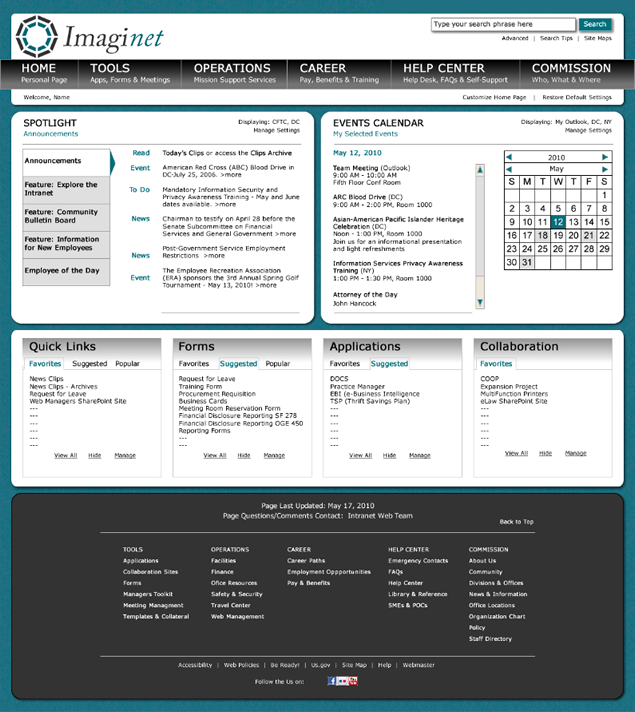 screenshot of federal intranet site designed for SharePoint 2010 by Lauren Brush